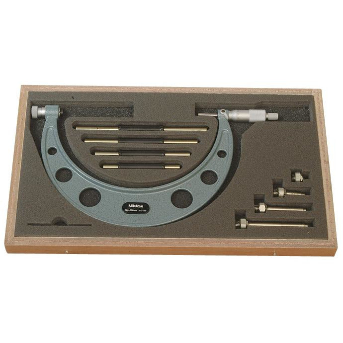 Mitutoyo Outside Micrometer Set Interchangeable Anvils 100-200mm x 0.01mm with Interchangeable Anvils-Mitutoyo-Tool Factory