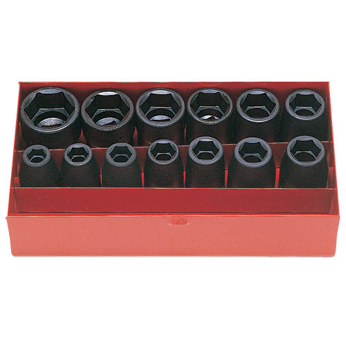 "Koken 1/2"" Dr Impact Socket Set - 13pc 10-27mm 6pt Impact Sockets-Sockets & Accessories-Tool Factory"
