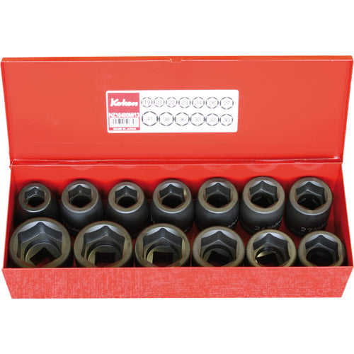"Koken 3/4"" Dr Impact Socket Set - 13pc 19-41mm 6pt Impact Sockets-Sockets & Accessories-Tool Factory"