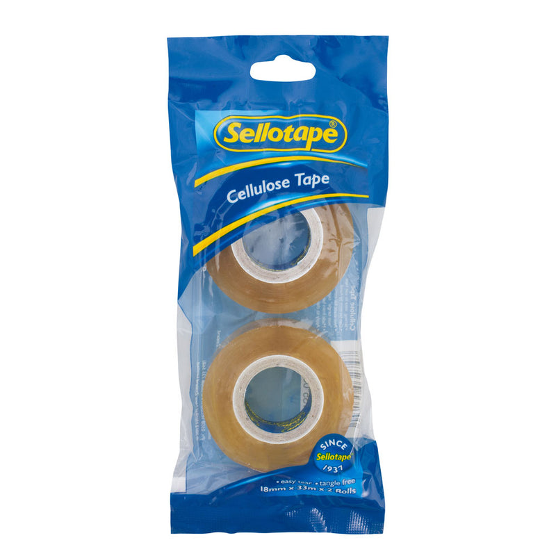 Sellotape 3274 Cellulose Tape 2 Pack 18mmx33m-Tapes-Tool Factory