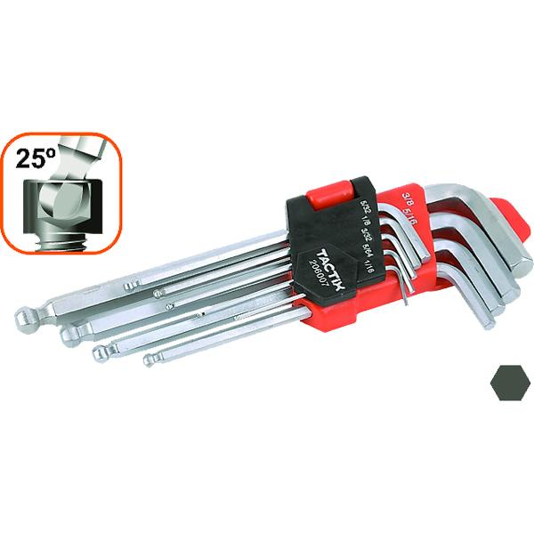Tactix 9Pc Hex Key Ball Point End Set-Sae | Wrenches & Spanners - Sets-Hand Tools-Tool Factory