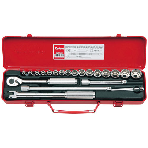 "Koken 3/8"" Dr Socket Set - 17pc 1/4""-7/8""-Sockets & Accessories-Tool Factory"