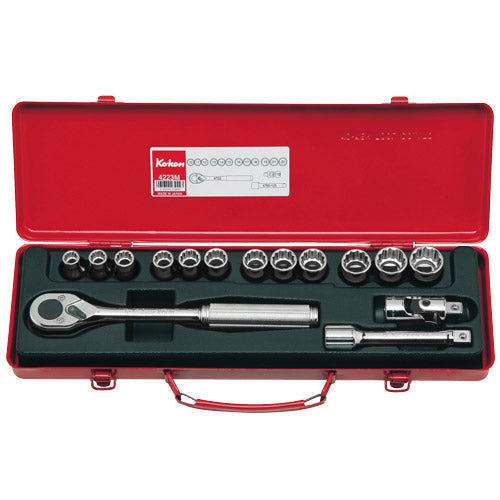 "Koken 1/2"" Dr Socket Set - 15pc 10-22mm-Sockets & Accessories-Tool Factory"
