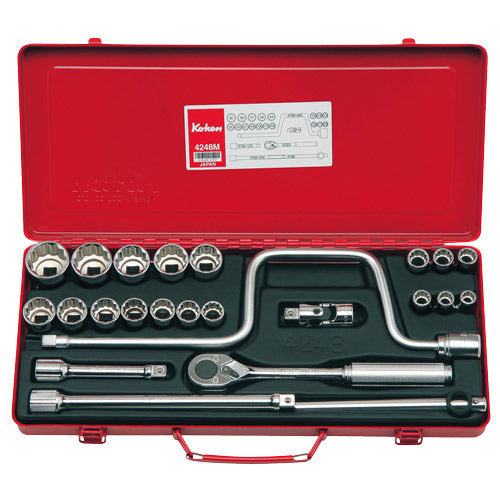 "Koken 1/2"" Dr Socket Set - 24pc 10-32mm-Sockets & Accessories-Tool Factory"