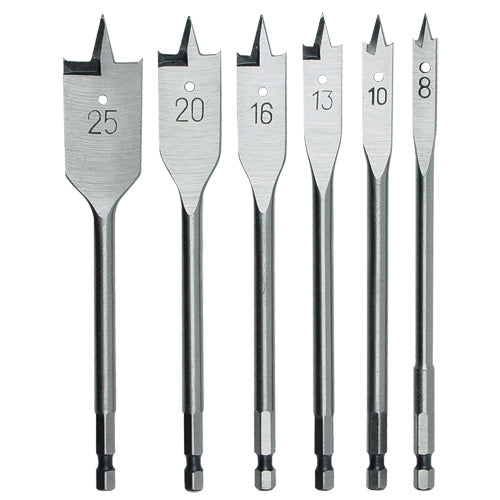 Rex-Plus Flat Power Bit Set 6pc 8-25mm-Power Tool Accessories-Tool Factory