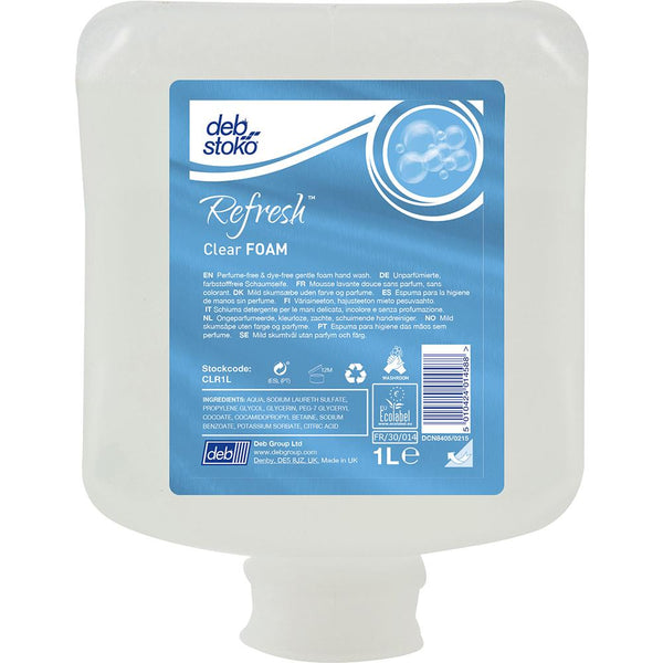 Deb|Stoko Refresh Clear Foam - 1L Cartridge | Hand Cleaners & Skin Care - Light Duty Cleaning-Cleaners-Tool Factory