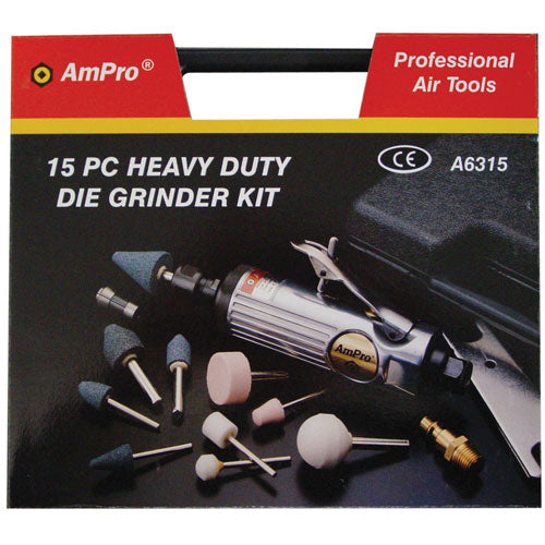 AmPro Air Die Grinder Kit 15pc-Air Tools-Tool Factory