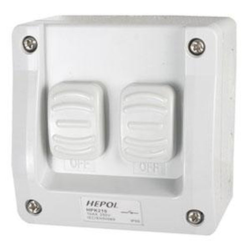 10A Weatherproof 2 Gang Surface Switch Ip66** | Plugs & Sockets - Surface Switches-Automotive & Electrical Accessories-Tool Factory