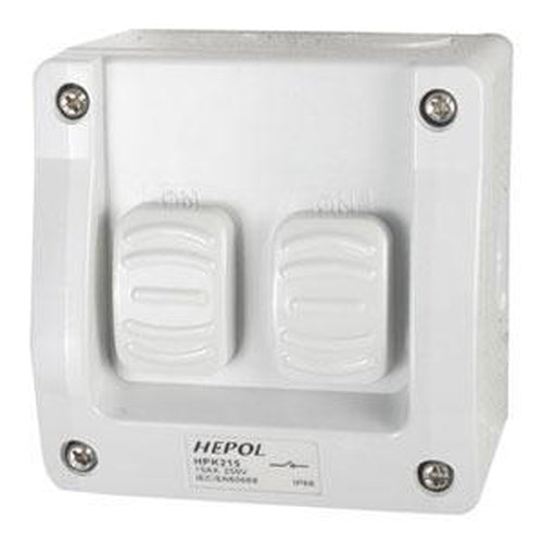 15A Weatherproof 2 Gang Surface Switch Ip66** | Plugs & Sockets - Surface Switches-Automotive & Electrical Accessories-Tool Factory