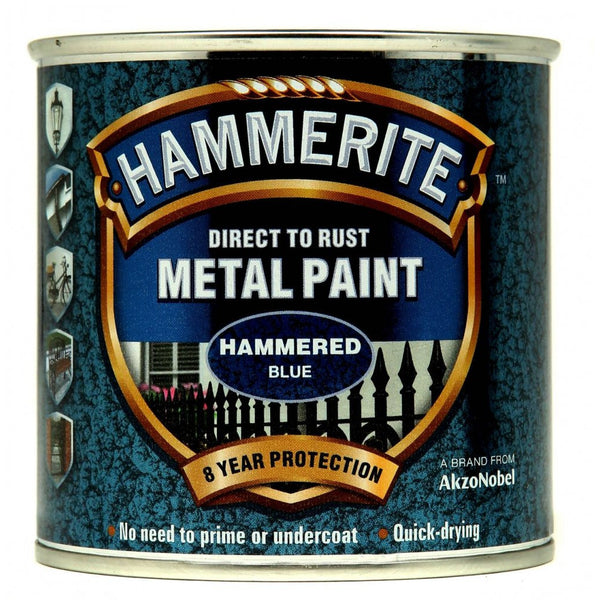 Hammerite Direct to Rust Metal Paint Hammered Blue 250ml-Metal Protection & Paint-Tool Factory