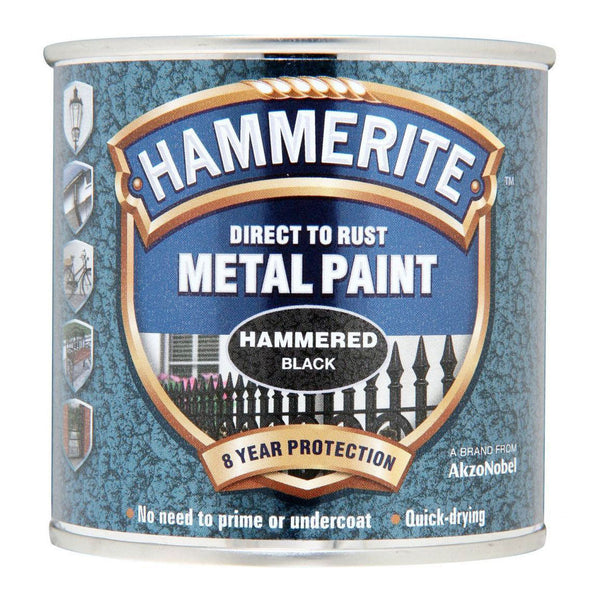 Hammerite Direct to Rust Metal Paint Hammered Black 250ml-Metal Protection & Paint-Tool Factory