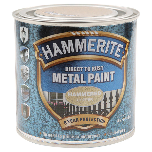 Hammerite Direct to Rust Metal Paint Hammered Copper 250ml
