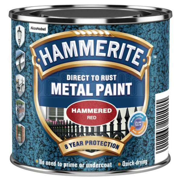 Hammerite Direct to Rust Metal Paint Hammered Red 250ml-Metal Protection & Paint-Tool Factory