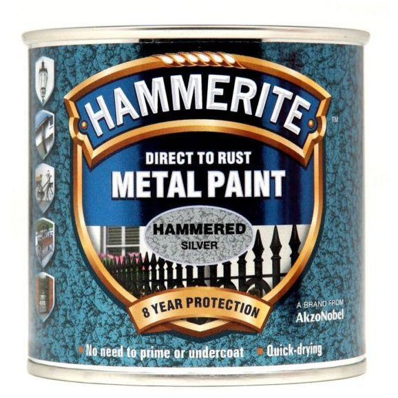 Hammerite Direct to Rust Metal Paint Hammered Silver 250ml-Metal Protection & Paint-Tool Factory