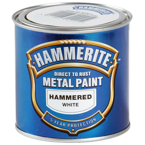 Hammerite Direct to Rust Metal Paint Hammered White 250ml