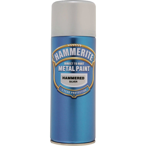 Hammerite Direct to Rust Metal Paint Hammered Silver 400ml Aerosol