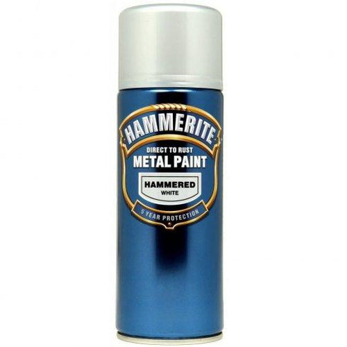 Hammerite Direct to Rust Metal Paint Hammered White 400ml Aerosol