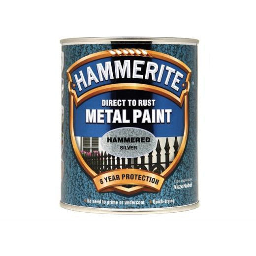 Hammerite Direct to Rust Metal Paint Hammered Silver 750ml