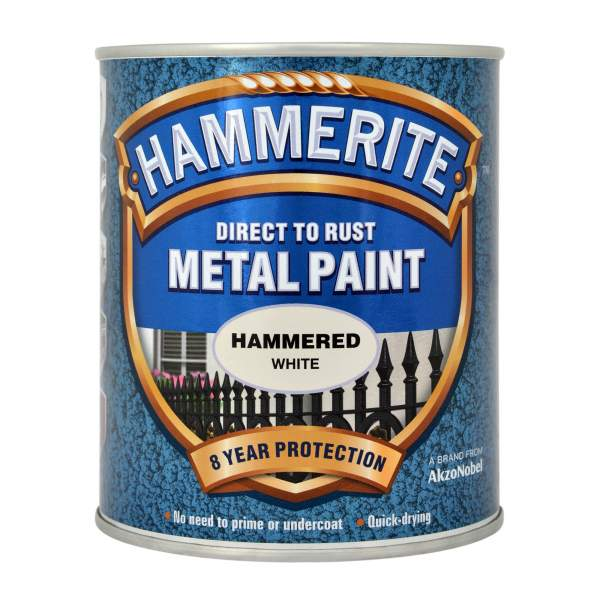 Hammerite Direct to Rust Metal Paint Hammered White 750ml