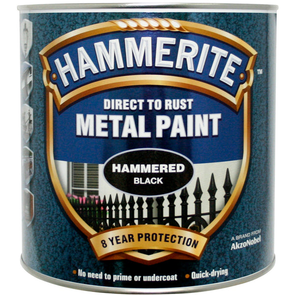 Hammerite Direct to Rust Metal Paint Hammered Black 2.5Litre