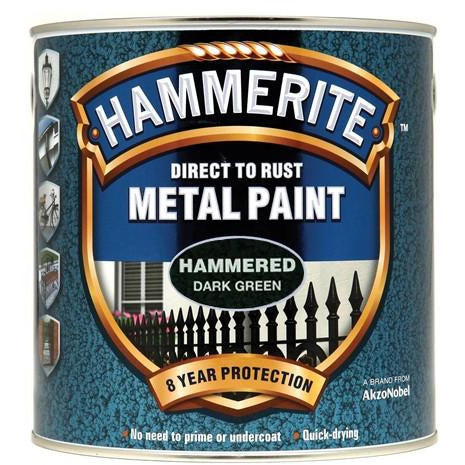 Hammerite Direct to Rust Metal Paint Hammered Dark Green 2.5Litre