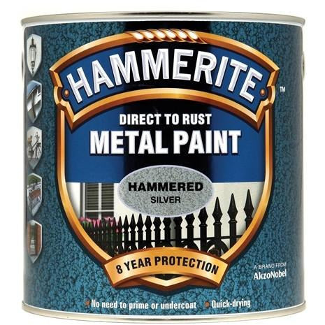 Hammerite Direct to Rust Metal Paint Hammered Silver 2.5Litre