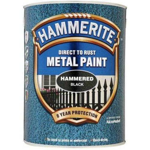Hammerite Direct to Rust Metal Paint Hammered Black 5Litre-Metal Protection & Paint-Tool Factory
