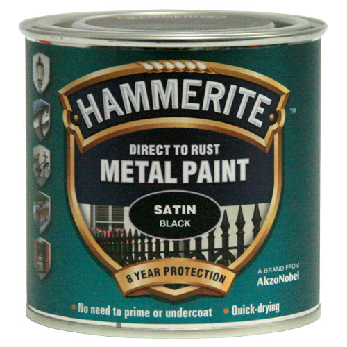Hammerite Direct to Rust Metal Paint Satin Black 250ml-Metal Protection & Paint-Tool Factory