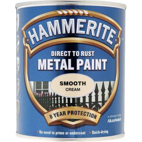 Hammerite Direct to Rust Metal Paint Smooth Cream 250ml-Metal Protection & Paint-Tool Factory