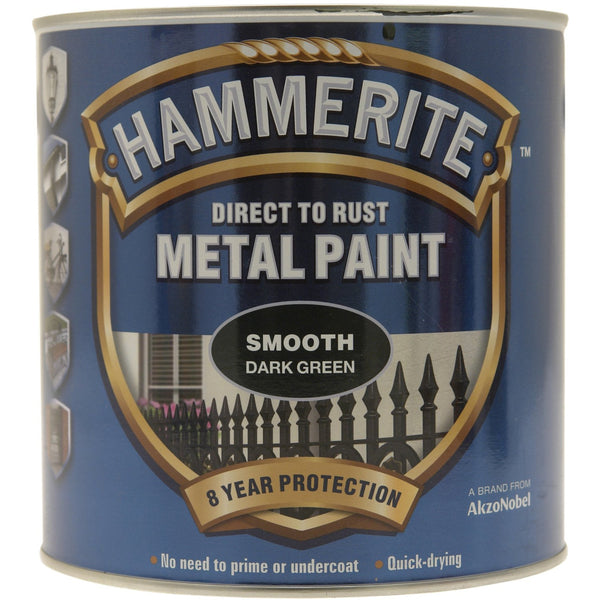 Hammerite Direct to Rust Metal Paint Smooth Dark Green 250ml-Metal Protection & Paint-Tool Factory