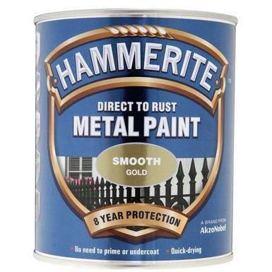 Hammerite Direct to Rust Metal Paint Smooth Gold 250ml-Metal Protection & Paint-Tool Factory