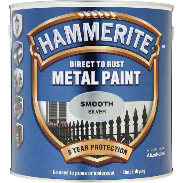 Hammerite Direct to Rust Metal Paint Smooth Silver 250ml