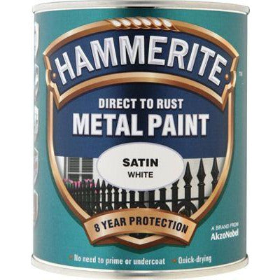 Hammerite Direct to Rust Metal Paint Satin White 250ml
