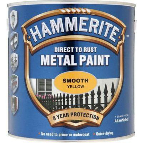 Hammerite Direct to Rust Metal Paint Smooth Yellow 250ml-Metal Protection & Paint-Tool Factory