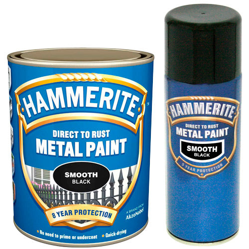 Hammerite Direct to Rust Metal Paint Smooth Black 2.5Litre