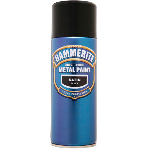 Hammerite Direct to Rust Metal Paint Satin Black 400ml Aerosol