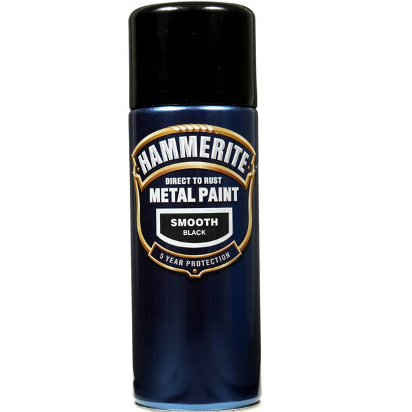 Hammerite Direct to Rust Metal Paint Smooth Black 400ml Aerosol