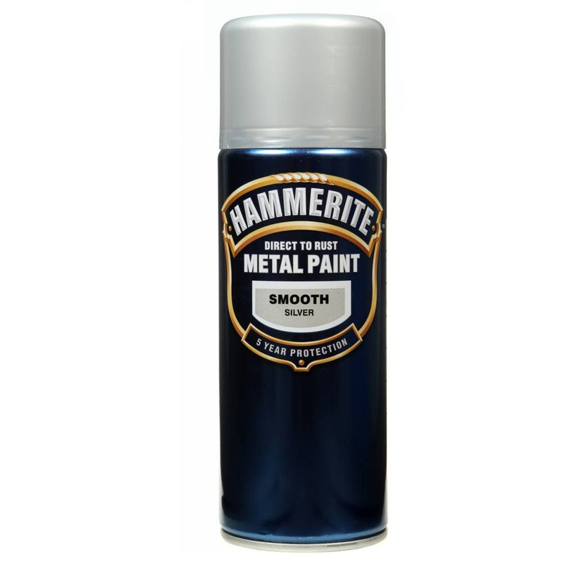 Hammerite Direct to Rust Metal Paint Smooth Silver 400ml Aerosol-Metal Protection & Paint-Tool Factory