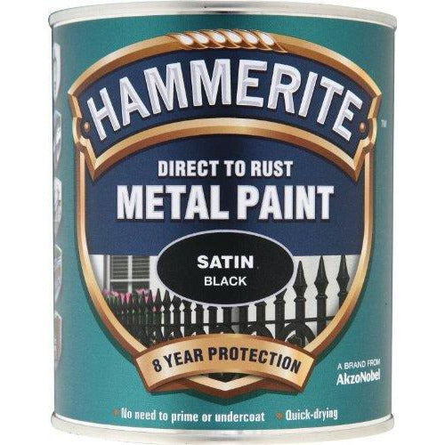 Hammerite Direct to Rust Metal Paint Satin Black 750ml
