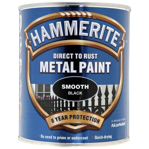Hammerite Direct to Rust Metal Paint Smooth Black 750ml-Metal Protection & Paint-Tool Factory