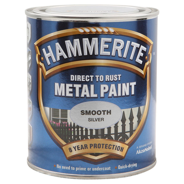 Hammerite Direct to Rust Metal Paint Smooth Silver 750ml-Metal Protection & Paint-Tool Factory