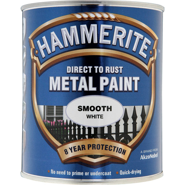Hammerite Direct to Rust Metal Paint Smooth White 750ml-Metal Protection & Paint-Tool Factory