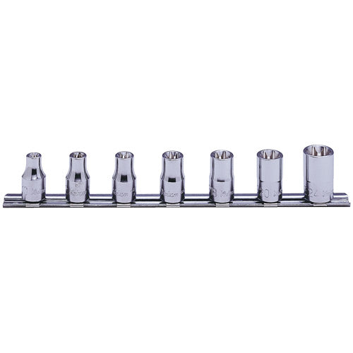 "Koken 1/2"" Dr Internal Torx Socket Set On Rail - 7pc E10-E24-Sockets & Accessories-Tool Factory"