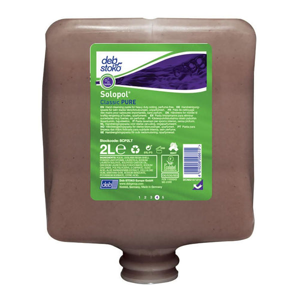 Solopol Classic Pure 2L Cartridge - Perfume & Dye Free | Hand Cleaners & Skin Care - Heavy Duty Cleaning
