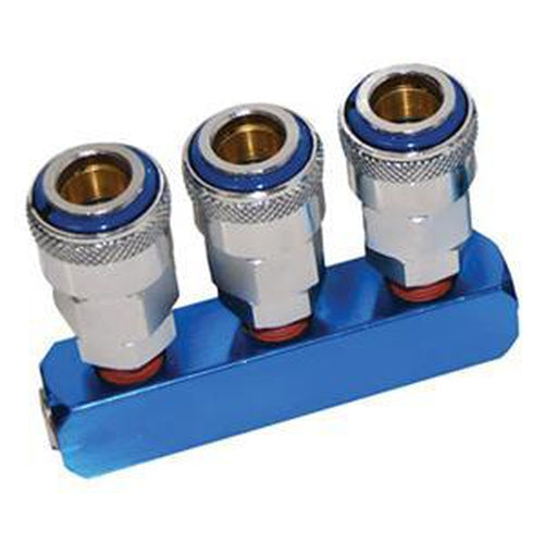 Thb 3-Way Manifold - 1/4In | Air Line Accessories - Air Manifolds-Air Tools-Tool Factory