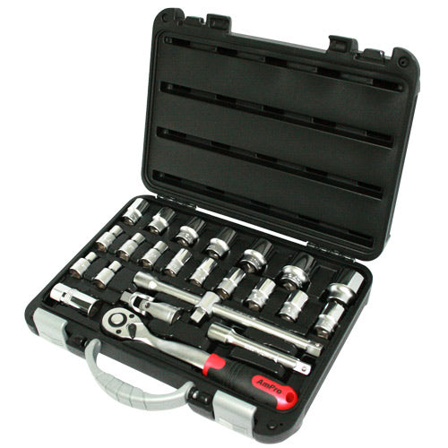 "AmPro 6pt 24pc 1/2""Dr Socket Set 10-32mm 10-32mm-Sockets & Accessories-Tool Factory"