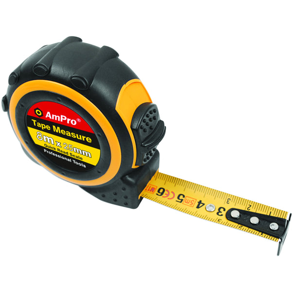 AmPro Tape Measure 8m 8m-Hand Tools-Tool Factory