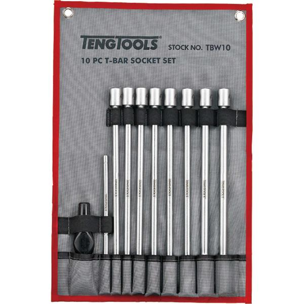 10Pc T-Bar Universal Joint Long Socket Set- 7-19Mm | Service Tools - Sets