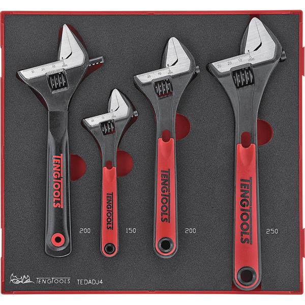 Teng 4Pc Adjustable Wrench Set - Ttd-Tray | Tool Tray Sets - Metric