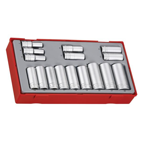 16Pc 3/8In Dr. Deep Socket Set 7-22Mm | Tool Tray Sets - 3/8 Inch Drive